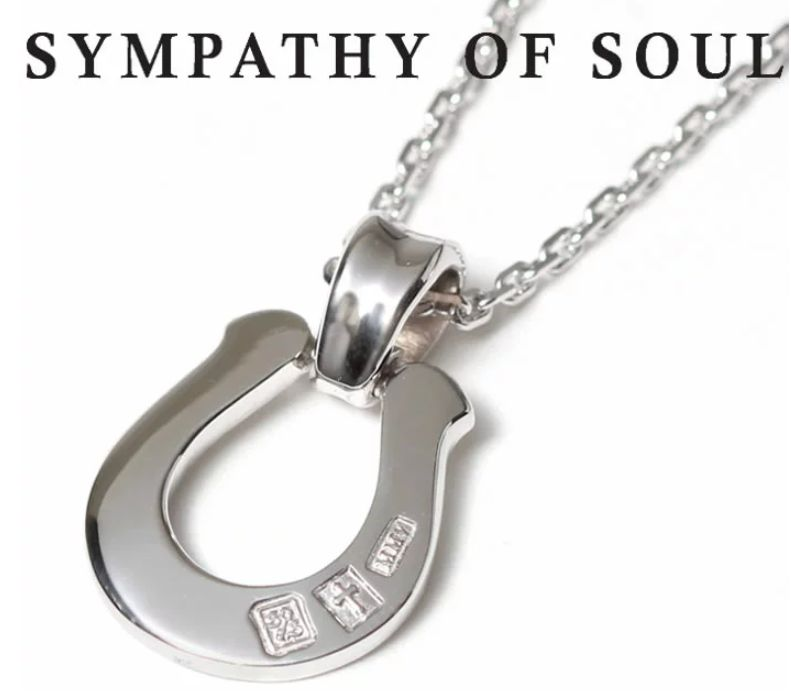 SYMPATHY OF SOUL Horseshoe Large Pendant x Square Cable Chain 1.6mm Hook Silver チェーン